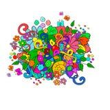Krabbels met bloemen en werveling royalty-vrije illustratie