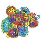 Krabbels met bloemen en werveling vector illustratie