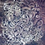 Krabbels Muzikale illustratie De creatieve Achtergrond van de Muziek grafisch Royalty-vrije Stock Foto's