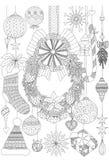 Krabbels over Kerstmis decoratieve materialen voor volwassen kleurende boekpagina's en Kerstkaartuitnodiging stock illustratie