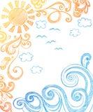 Krabbels van de Zon van de zomer en de Schetsmatige van het Notitieboekje van Golven vector illustratie