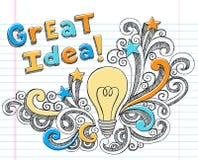 Krabbels van het Idee van de Gloeilamp Hand-Drawn Schetsmatige Stock Foto's