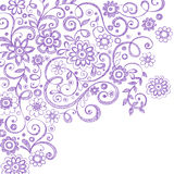 Krabbels van het Notitieboekje van bloemen en van Wijnstokken de Schetsmatige Royalty-vrije Stock Foto