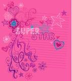 Krabbels van het Notitieboekje van de superster de Schetsmatige Royalty-vrije Stock Fotografie