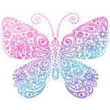 Krabbels van het Notitieboekje van de vlinder de Schetsmatige Royalty-vrije Stock Foto's
