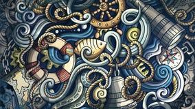 Krabbels Zeevaartillustratie Creatieve mariene achtergrond Royalty-vrije Stock Foto