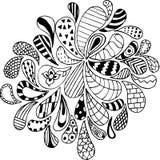 Krabbels, zentangle, vector, illustratie, patroon, penc uit de vrije hand Stock Afbeeldingen