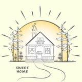 Krabbelschets met huis bij dageraad met bomen Getrokken hand royalty-vrije illustratie