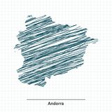 Krabbelschets van de kaart van Andorra royalty-vrije illustratie
