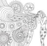 Krabbelsontwerp van een fotograafmeisje die foto voor het kleuren van boek voor volwassene nemen vector illustratie
