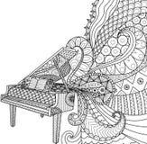 Krabbelsontwerp van piano voor het kleuren van boek voor volwassene, affiche, kaarten, ontwerpelement, etc. grafische T-shirt - V Royalty-vrije Stock Afbeeldingen