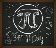 Krabbeltekening met Symbool, Pastei en Datum voor Pi-Dag, Vectorillustratie stock illustratie