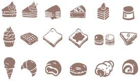 Krabbeltekening van dessertsnoepje en suikergoed zoals cake cheesecak Royalty-vrije Stock Foto