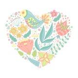 Krabbelvogel en bloemenelementen in hartvorm royalty-vrije illustratie