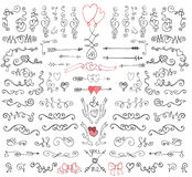 Krabbelwervelingen, pijlen, decorelement Beeldverhaalpatronen voor leuk behang Stock Foto's