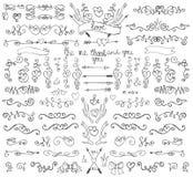 Krabbelwervelingen, pijlen, grenzen, decorelement Liefde Stock Afbeelding