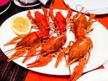 Krabben auf einer Platte Stockbild