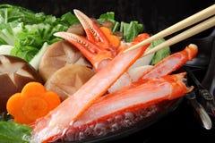 Krabben-und heißer Gemüsetopf Stockfotografie