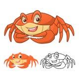 Krabben-Zeichentrickfilm-Figur der hohen Qualität umfassen flaches Design und Linie Art Version Stockfotos