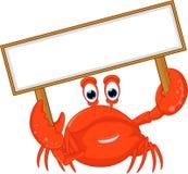 Krabbenbeeldverhaal met leeg teken Stock Fotografie
