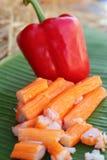Krabbenstöcke mit Obst und Gemüse Lizenzfreies Stockbild
