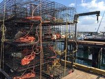 Krabbentöpfe auf Pier Lizenzfreie Stockfotografie