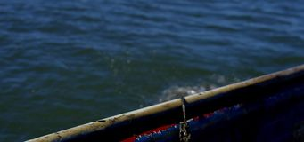 Krabbentopf gedrückt über Seite des Bootes stock video footage