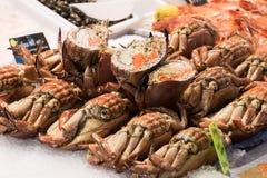 Krabbor och halverade krabbor i skärm fotografering för bildbyråer