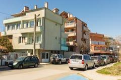 Kraberezhnaya street in Pomorie, Bulgaria Stock Photography