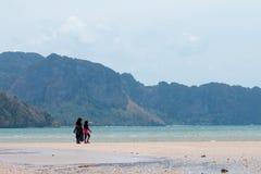 KRABI,泰国-佩带HIJAB的妇女走在2014年4月16日的海滩在Krabi,泰国 图库摄影