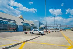 KRABI,泰国- 2018年2月02日:Krabi国际机场室内看法  甲米府为它被认识 免版税库存图片