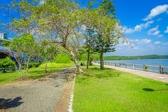 KRABI, ТАИЛАНД - 19-ОЕ ФЕВРАЛЯ 2018: Шикарный внешний взгляд тропы близко к реке в городке Krabi, Таиланде местно стоковое фото