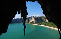 Krabi. Rock climbing in krabi thailand royalty free stock photos