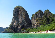 Krabi beaches with limestone rock formations and sea, Thailand Royalty Free Stock Image