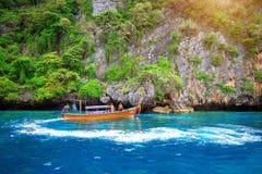 KRABI - DECEMBER 1: Long boat and tourist at Maya bay in Phi Phi Stock Images
