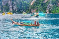 KRABI - DECEMBER 1: Long boat and tourist at Maya bay in Phi Phi Stock Photos