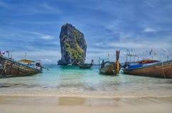 Krabi Island. Thailand sea emerald boat long tail Royalty Free Stock Images