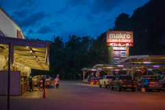 Krabi, 9 July 2014: Makro Cash and Carry shop entrance and parki Royalty Free Stock Photos