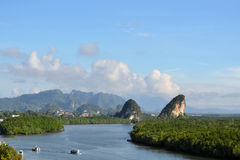 Krabi Limestone landmark. Krabi landmark (Kanaab Nam Cliff), Krabi Town, Thailand Stock Image