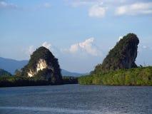 Krabi limestone rock formations gate, Thailand Royalty Free Stock Photos