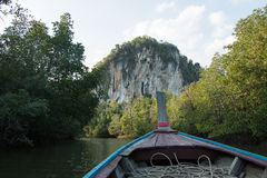 Krabi Mangroves,Thailand. Limestone karst mountain and green mangrove landscape in Krabi, Krabi Province,Thailand Royalty Free Stock Images