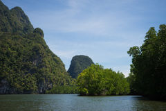 Krabi mountains. River and mountains at krabi Royalty Free Stock Image
