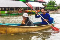 Krabi Province, Thailand. Kayaking station. Couple smiling Royalty Free Stock Photos