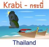 Krabi strand i Thailand vektorbakgrund Arkivfoto
