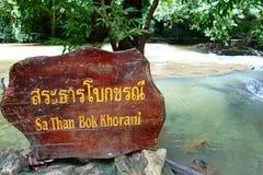 Krabi Tajlandia, Lipiec, - 18, 2016: Etykietki imię - Sa Niż Boka Khoran Obrazy Stock