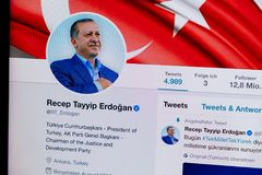 KRABI, THAILAND - APRIL 04, 2018: Closeup of official Recep Tayyip Erdoğan Twitter Profile and Picture Stock Image