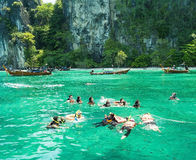 Krabi,Thailand-April 21,2015:Tourists enjoy with snorkeling in a Stock Photography