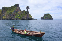 KRABI THAILAND-APRIL16:unidentified visitor sailing on long tail Stock Photography