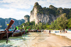 Krabi,Thailand,December 11,2013:Railay beach, Krabi, Andaman sea Royalty Free Stock Photos