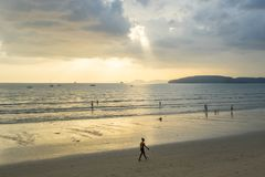 People relax and walking at Ao Nang beach before the sunset Stock Photo